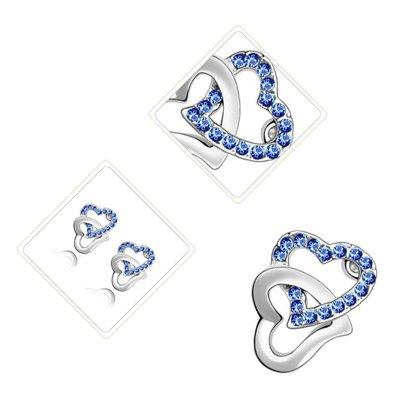 Clous d'Oreille à la Mode, Plaqués en Or Blanc de 18K, Double Cœurs d'Amour Entrelacés avec des Strass Bleu Saphir Clair sertis en Pavé, 17mm x 13mm