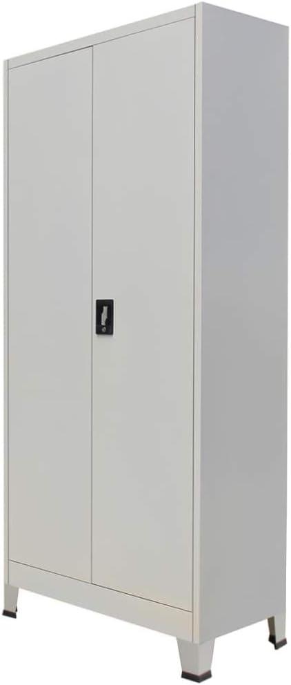vidaXL Armadio per Ufficio Alto con Ripiani e 2 Ante Robusto Durevole Pratico Elegante Schedario Archiviazione Documenti Bianco in Truciolato