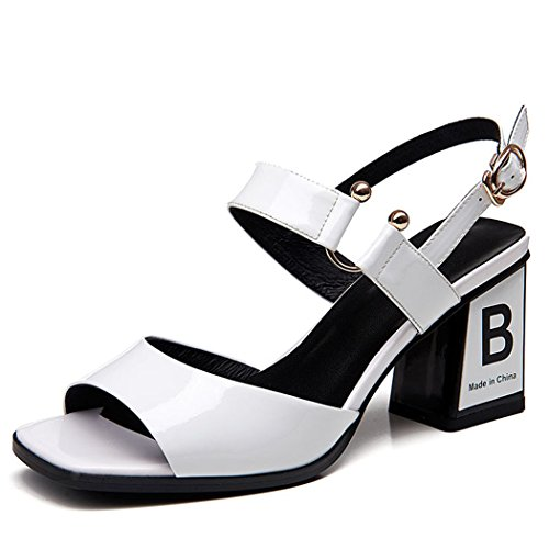 High Womens Fashion Summer Leather Open Strap Ladies Sandals White GAOLIXIA Court Shoes Pumps Heels Toe Ankle P4Uqgqx