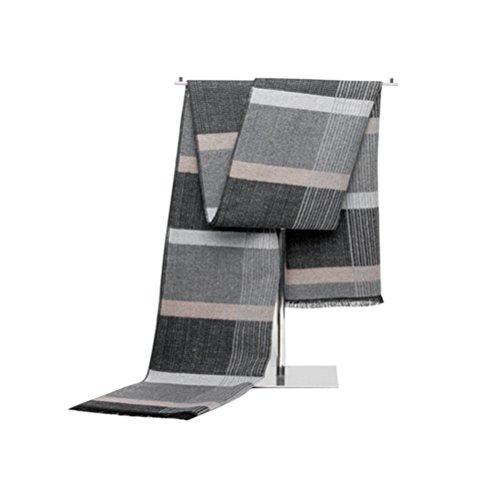 OULII Vêtements homme châle hiver chaud longue frange Tassel Striped Scarf (gris) - cadeaux pour les hommes