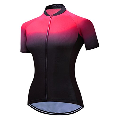 Mountain Bike Jersey Women, Women's Cycling Jersey Biking Shirt Jacket Tops, Comfortable Quick Dry Red-Black