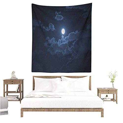 Willsd Night Living Room Tapestry Full Moon Appearing Among Dark Clouds Scenic Mysterious Midnight Dusk Foggy Heavens Home Decorations for Bedroom Dorm Decor 40W x 60L INCH Dark Blue