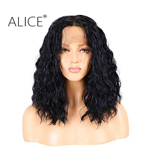 ALICE Lace Front Black Curly Wig, 14