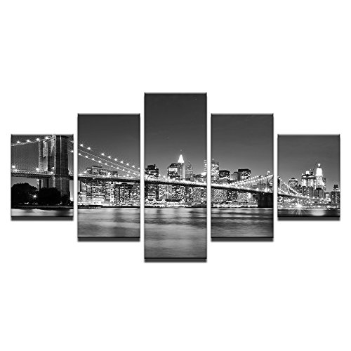 WMWSH Lienzo HD Imprime Fotos Decoracion para El Hogar 5 Piezas Puente De Brooklyn, por La Noche Pinturas Mordern Carteles Salon Arte De La Pared,Cuadro En Lienzo HD Pintura Al Oleo