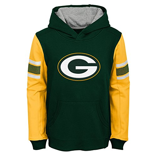 NFL Green Bay Packers Kids & Youth Boys Man in Motion Color Blocked Pullover Hoodie, Hunter Green, Youth X-Large(18)