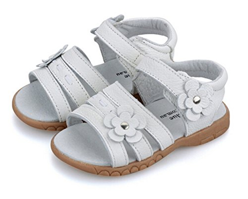 Bumud Girls Genuine Leather First Walkers Flower Open Toe Sandals (Toddler, Little Kid) (6 M US Toddler , White) by Bumud (Image #1)