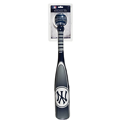 Franklin Sports New York Yankees Soft Sport Bat & Ball Set - Soft Vinyl Toy Baseball Bat and Ball Team Logo - MLB Official Licensed Product