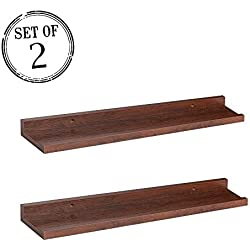 "O&K Furniture Wall Shelf Display Floating Shelves (Espresso-Teak, 18.9"" Length, Set of 2)"