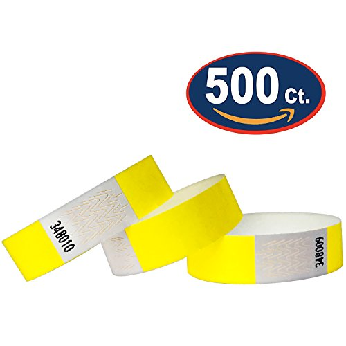 Tyvek Wristbands - 500 Pack - Yellow - 3/4
