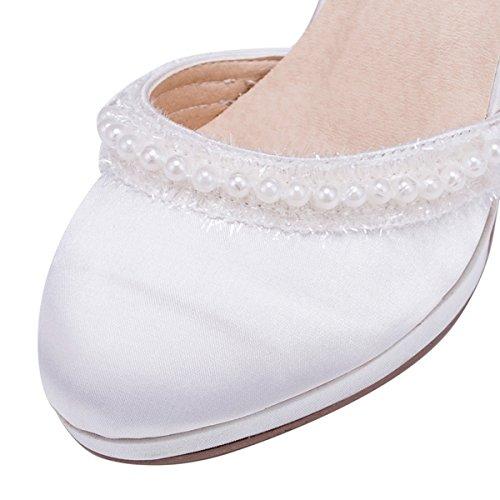Kevin Fashion zms616Ladies Almond Toe satén novia boda fiesta noche Prom zapatos de bombas blanco