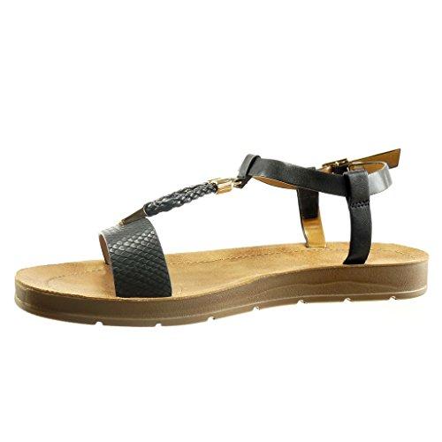 Angkorly Women's Fashion Shoes Sandals - t-Bar - Open - Snakeskin - Braided - Metallic Wedge Platform 2 cm Black GxPoISaxu6
