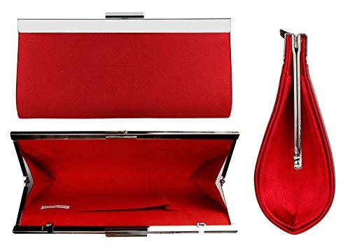 Bidear Satin Evening Bag Clutch, Party Purse, Wedding Handbag with Chain Strap for Women Girl (Red) by Bidear (Image #3)