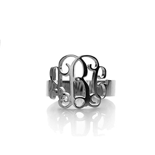 AOCHEE Personalized Name Ring Monogram Initial Ring ()