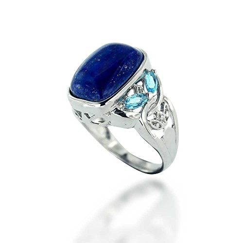 Chuvora Rhodium Plated 925 Sterling Silver Square Blue Lapis Lazuli w/Sky Blue Topaz Gemstone Ring, Size 7