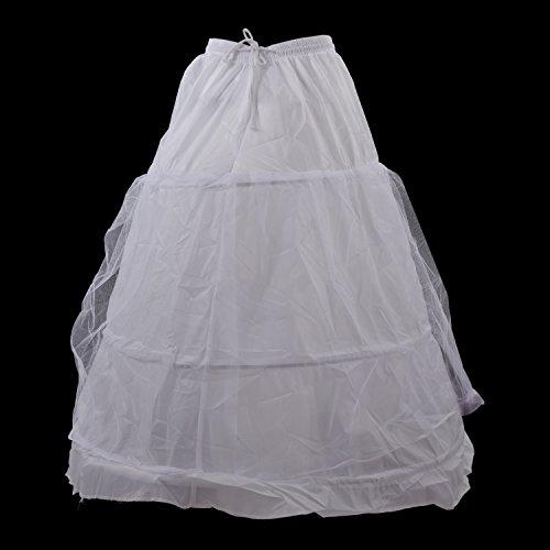 SODIAL(R)Bianco A-Line 3 cerchio di 2 strati vestito nuziale abito da sposa slittamento sottogonna sottoveste