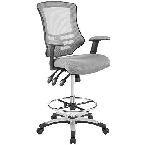 Modway Calibrate Mesh Drafting Chair in Gray - Tall Office Chair For Adjustable Standing Desks
