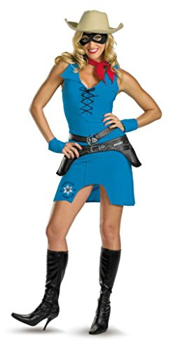 Disguise Womens Sassy Lone Ranger Sexy Cowboy Halloween Themed Party Fancy Dress, M (8-10) (Lone Cowboy Adult Costume)