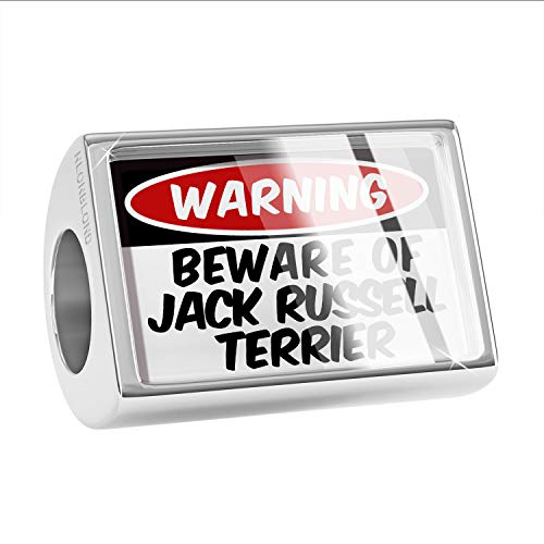 NEONBLOND Charm Beware of The Jack Russell Terrier Dog from England Bead