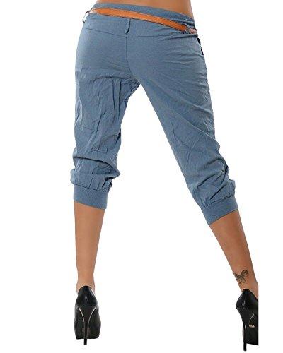 Harem Tasca Stretch Pantalone Estate Pantaloni ORANDESIGNE Capri Donna Pantaloncini Pantalone Corti 3 da Blu Pantalone 4 FUU8w7zq