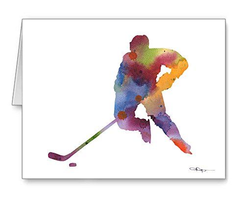 - Hockey Player Set of 10 Art Note Cards by Watercolor Artist DJ Rogers