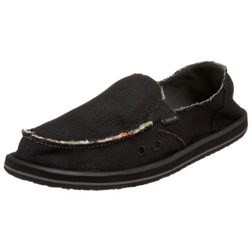(Sanuk Women's Donna Hemp Flat,Black,5 M US)