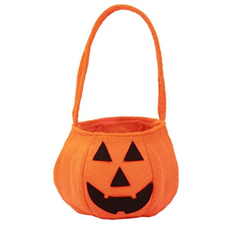[Elevin(TM) Children Kids Halloween Pumpkin Bag Candy Bucket Handbag Trick or Treat Bag (16X14cm)] (College Girl Halloween Costumes Creative)