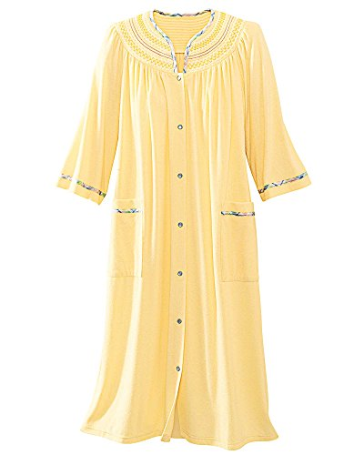 National Plaid Trim Terry Robe, Butter, Large (Snap Trim)