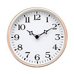 COMODO CASA Wall & Desk Clock- Metal Rose Gold Frame-Glass Cover-Non Ticking-Quartz Sweep-Silent 6 inch Retro Clock,White Type A