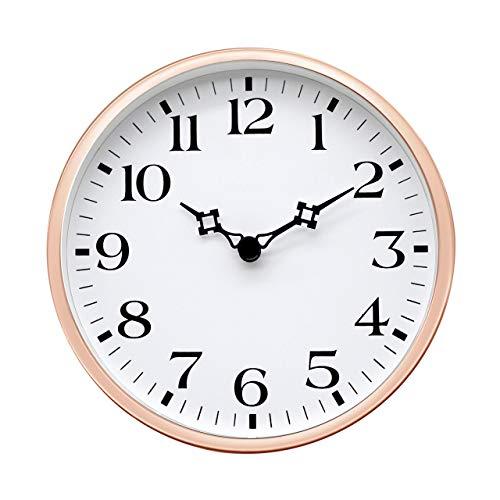 COMODO CASA Wall Desk Clock- Metal Rose Gold Frame-Glass Cover-Non Ticking-Quartz Sweep-Silent 6 inch Retro Clock,White Type A