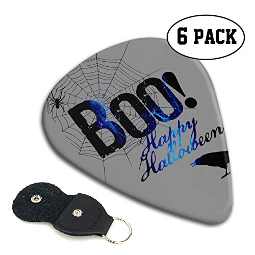 (BLDBZQ Boo Happy Halloween Free Printable Celluloid Guitar Picks Premium Picks 6 Pack for Guitar,Mandolin,and Bass 0.46mm, 0.71mm, 0.96mm Optional with PU Leather Pick)