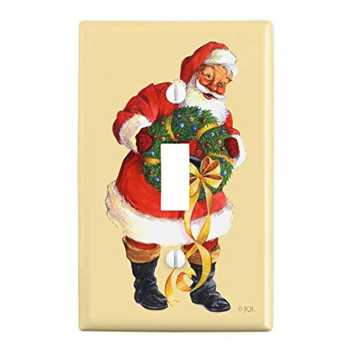 GRAPHICS & MORE Christmas Holiday Santa Holding Wreath Plastic Wall Decor Toggle Light Switch Plate Cover