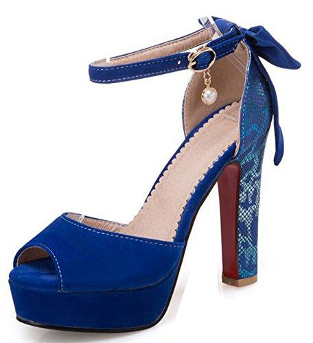 Easemax Escarpins Elégant Nœuds Femme Fermeture À Bleu Boucle rUqYrwCx