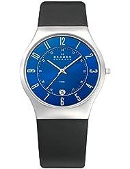 Skagen Mens 233XXLSLN Steel Perfect Blue Leather Watch