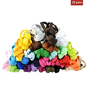 Marrywindix 29 Pairs 47 Flat Colourful Athletic Shoe Laces for Sneakers Skate Shoes Boots Sport Shoes (29 Colors) (Color: Colorful, Tamaño: 47'')