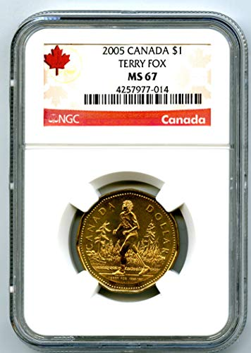 2005 CANADA TERRY FOX LOONIE RARE DOLLAR LOON TOP POP ONLY 16 $1 MS67 NGC