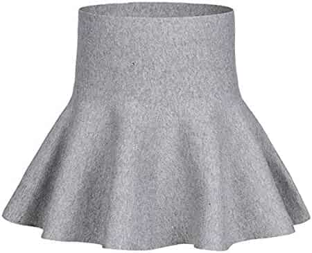 eac3710c57 storeofbaby Little Big Girls High Waist Knitted Flared Pleated Skater Skirt  Casual