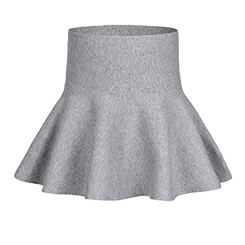 - storeofbaby Girls Skirt Pleated Stretchy High Waist Solid Holiday Dance Pettiskirt Grey