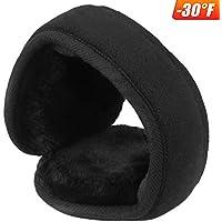 mysuntown Foldable Ear Warmers for Men and Women:The Warmest Fleece Earmuffs & Super Soft Earlap Ear Protection Black