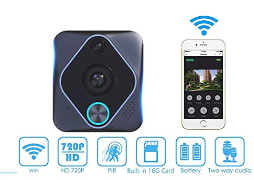 Horseshoe Video Doorbell,1080P HD WiFi Security Camera with Chime 8G Card, Real-Time 2-Way Talk & Video, 180°Wide Angle PIR Motion Detection and APP Control