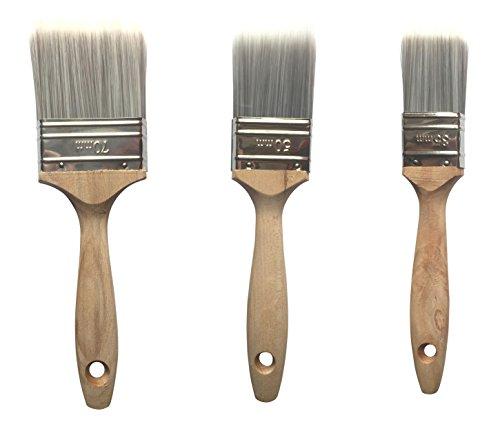 PROFI Lackierpinsel Set 3-tlg. mit Hartholzstiel 35mm, 50mm, 70mm Flachpinsel | BEKATEQ Pinselset HOCHWERTIGE bombierte Mischborsten Pinsel Malerpinsel
