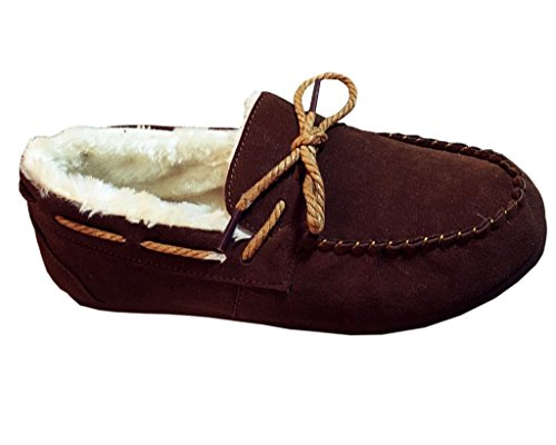 Maybest Women Men Unisex Faux Fur Slipper Flats Indoor Outdoor Sole Ultra Soft Lining Moccasins Short Snow Boots ( Brown for Women 8 B (M) US - Shopping Items Australia