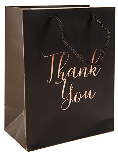 - 12 Pack Thank You Gift Bags - Elegant Paper Gift Bags with ''Thank You'' Embossed in Rose Gold Foil Letters - Perfect for Birthday Party, Wedding Party, Paper Favor Bags 4