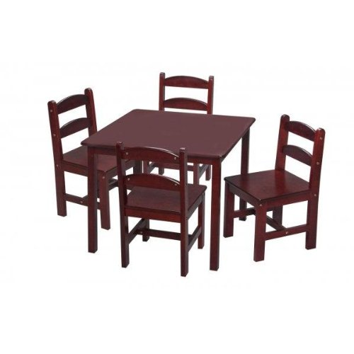 Gift Mark Square Table Set with 4 Chairs, Cherry