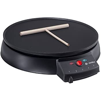 Eurolux Original French Style 12 Inch Electric Griddle and Crepe Maker - Pancake Maker Non-stick Coating Developed By the Swiss Ilag
