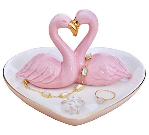 PUDDING CABIN Flamingo Ring Holder Heart Dish Wedding Gift by PUDDING CABIN