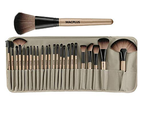 MACPLUS 24 Pieces Professional Makeup Brushes Set with Case, Face Eye Shadow Eyeliner Foundation Blush Lip Powder Liquid…
