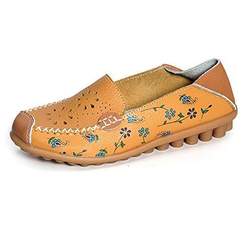 Nos Grande En Jaune Qiusa Creux Mocassins Flat Dans Infirmire Fleur Chaussures Eu Taille 44 Taille couleur Pour Jaune Imprim Femme Slip Le Causales qX46Bw56