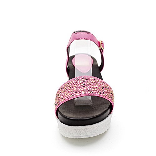 AmoonyFashion Womens Solid Cow Leather Kitten Heels Open Toe Buckle Sandals Pink c1cNqSH1PZ