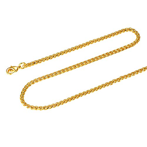 - FOCALOOK Spiga Wheat Chain 3mm Stainless Steel 18K Gold Plated Mens Womens Rope Chain Necklace,26