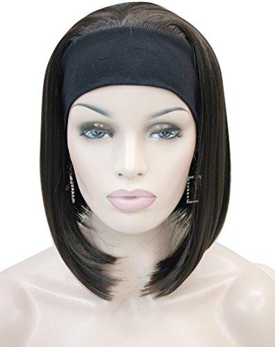 Kalyss Women's Short High Heat Resistant Synthetic Black Headband Dark Brown Hair (Headband Wigs Short)